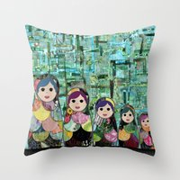 Matryoshka Nesting Dolls Throw Pillow
