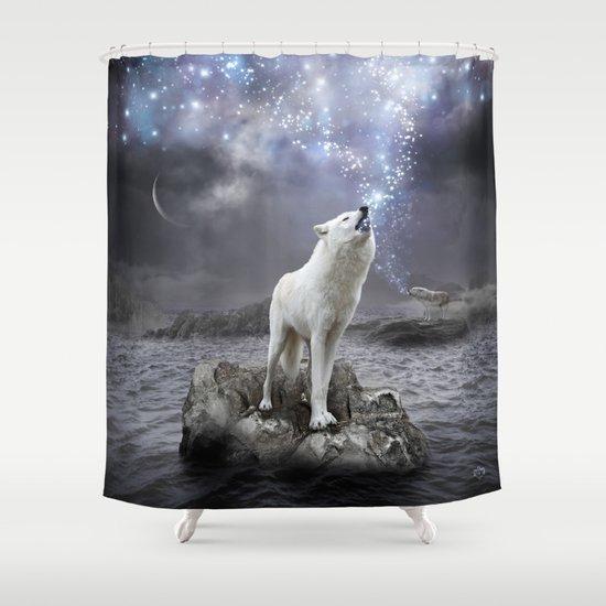 Stars Lie Hidden (Wolf Galaxy) Shower Curtain