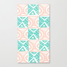 Pink and Blue Lino Print Triangles and Semi-Circles Canvas Print