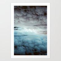 Glacier Painted Clouds  Art Print