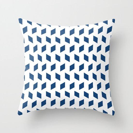 rhombus bomb in monaco blue Throw Pillow