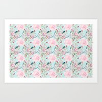 Shabby Chic Roses And Bl… Art Print