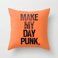 Make My Day Punk Throw Pillow