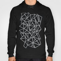 Abstract Outline Thick White on Grey Hoody