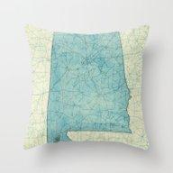Alabama Map Blue Vintage Throw Pillow