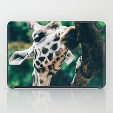Green Portrait Of A Giraffe iPad Case