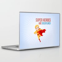 super heroes Laptop & iPad Skins featuring Super Heroes Are Disciplined by youngmindz