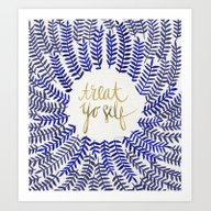 Art Print featuring Treat Yo Self – Gold &… by Cat Coquillette