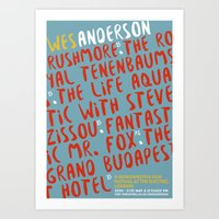 wes anderson Art Prints featuring Wes Anderson - The Life Aquatic by Laura Mace Design