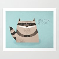 Sneaky Raccoon Art Print
