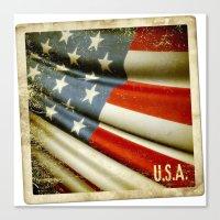 Grunge sticker of United States flag Canvas Print