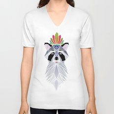 raccoon spirit Unisex V-Neck