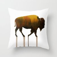 Watercolor: Bison Throw Pillow