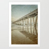 Johnny Mercer's Pier Long Exposure with Vintage Process Art Print