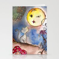 Love Cat and Moon Stationery Cards