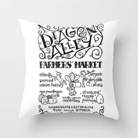 Diagon Alley Farmers' Market Throw Pillow
