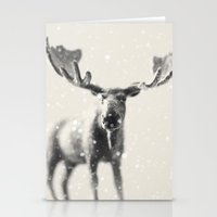 winter moose Stationery Cards