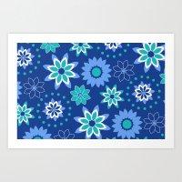 Floral Blue Pattern Art Print