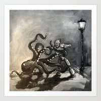 Octopus Wrestling With A… Art Print