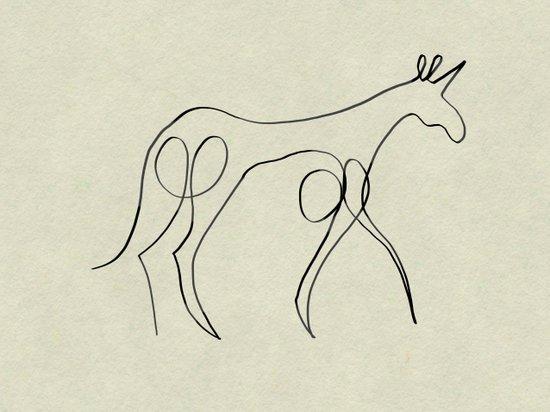 Continuous Line Unicorn Art Print