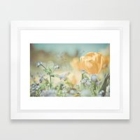 Bees And Flowers Framed Art Print