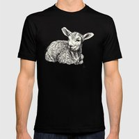 Baby Animals - Lamb Mens Fitted Tee Black SMALL