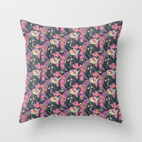 Paper Cut Birds [dark] Throw Pillow