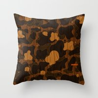 Modern Woodgrain Camouflage / Duck Print Throw Pillow