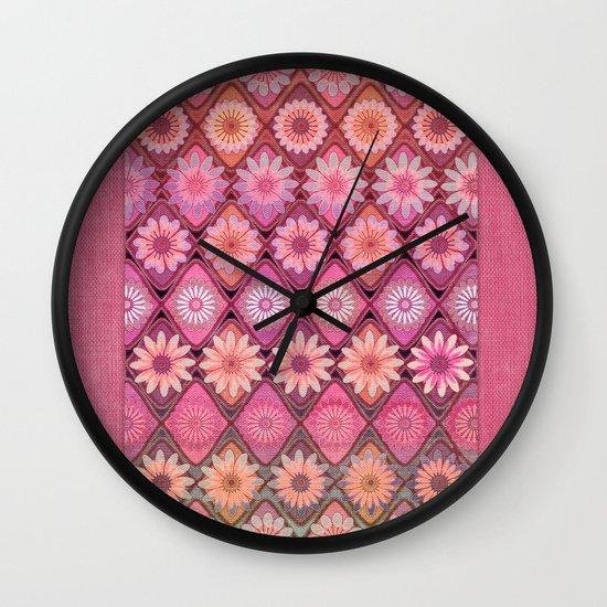 Daisy Pinks Wall Clock
