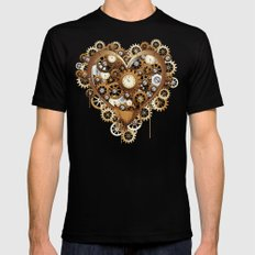 Steampunk Heart Love Mens Fitted Tee Black SMALL