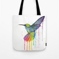 Hummingbird Rainbow Watercolor Tote Bag