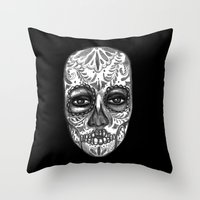 Floating Sugar Skull Throw Pillow