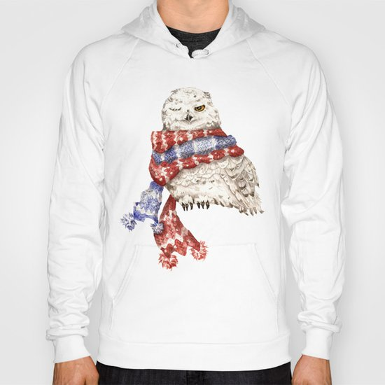 Winking Arctic Owl in Scarf Hoody