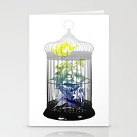 Green Finches Stationery Cards