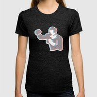 Boxing Ali (coulour) Womens Fitted Tee Tri-Black SMALL