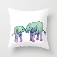 Baby Elephant Love - ombre mint & purple Throw Pillow