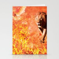 Lion Rescuing Cub from the Fire Stationery Cards