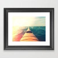 Yellow Kayak In Water Co… Framed Art Print