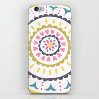 Suzani inspired floral blue 1 iPhone & iPod Skin