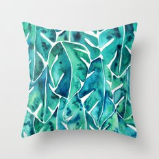 Split Leaf Philodendron – Teal Throw Pillow