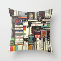Cassettes, VHS & Atari Throw Pillow