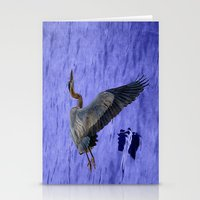 Great blue heron in fly Stationery Cards