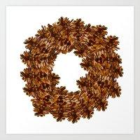 Pinecone Wreath Art Print