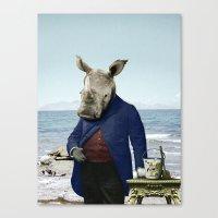 Mr. Rhino's Day at the Beach Canvas Print