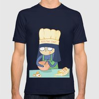 Kiss the Chef Mens Fitted Tee Navy SMALL