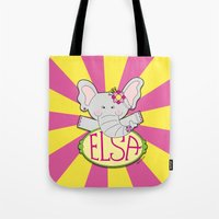 ELSA The elephant  - Fun, sweet, creative and colorful, original,digital children illustration Tote Bag