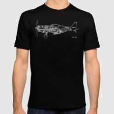 FW - 190 ( B & W) SMALL Black Mens Fitted Tee