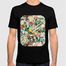 Floral and Birds III SMALL Black Mens Fitted Tee