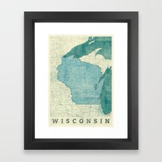 Wisconsin State Map Blue Vintage Framed Art Print