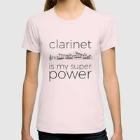 Clarinet is my super power (white) Womens Fitted Tee Light Pink SMALL